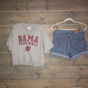 Cropped Alabama game day shirt